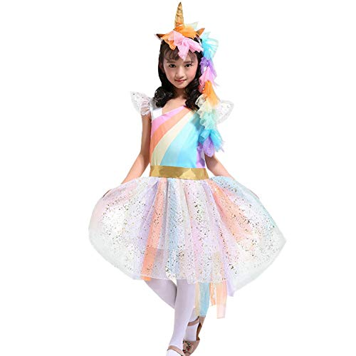 Kids Grils Rainbow Unicorn Fancy Dress Up Cosplay Child Party Halloween Costume