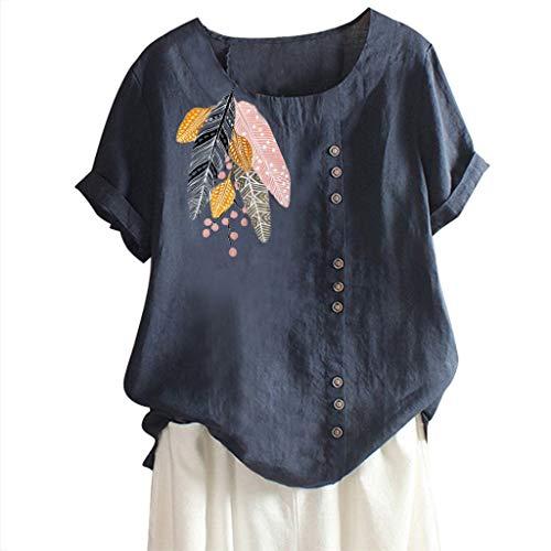 NEEKEY Women Plus Size Tops Summer Cotton and Linen O-Neck Applique Short Sleeve Loose Shirt Blouse ()