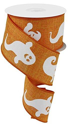 Halloween Orange White Ghost Ribbon: White & Orange 2.5