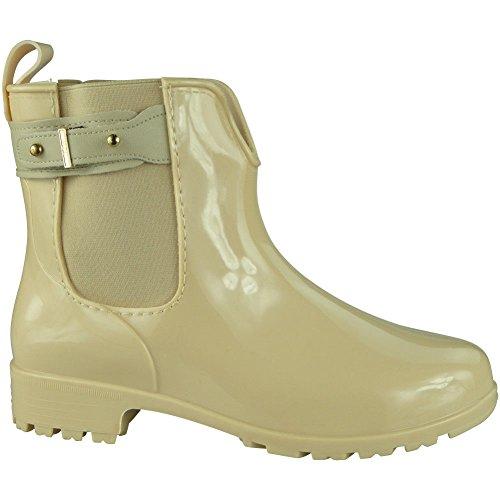 Damen Winter Regen Wohnung Chelsea Knöchel Wellies Wellington Stiefel Größe 36-41 Beige