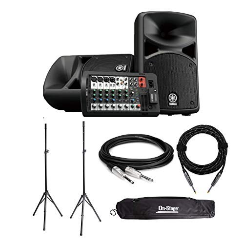 Yamaha STAGEPAS 400BT Portable Bluetooth PA System Bundle with Speaker Stands, Patch and Instrument Cables (4 Items) (Yamaha Stagepas 400i Stand)