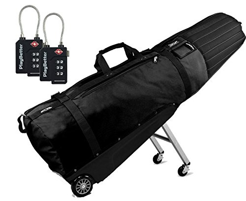 Sun Mountain ClubGlider Meridian Golf Travel Bag (2016/2017 VERSION) Bundle with Two (2) PlayBetter TSA Locks (Black)