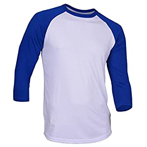 Hat and Beyond DR Raglan 3/4 Sleeve T-Shirts Baseball Fit Plain Mens Womens Jersey 5oz (X-Large, White/Royal Blue)