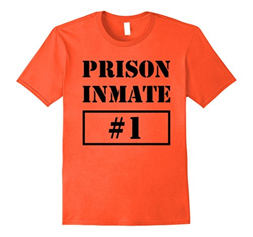 Jail Costume Toddler (Mens Prisoner Costume T-Shirt Inmate Funny Orange Escaped Jail Large Orange)