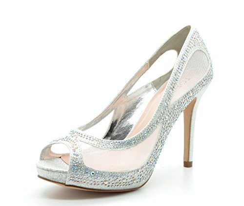 Rhinestone Peep Toe Pump (TOETOS BARBARA-58 New Women's Wedding Party Open Toe High Heel Rhinestones Elegant Peep Toe Pumps Shoes SILVER SIZE)