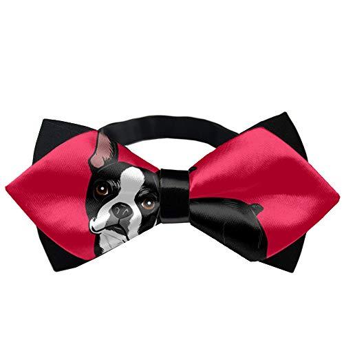 Men's Adjustable Bowties Boston Terrier Dog Cravat, Date Bow Tie Gift - Wedding Party Concert Tie -