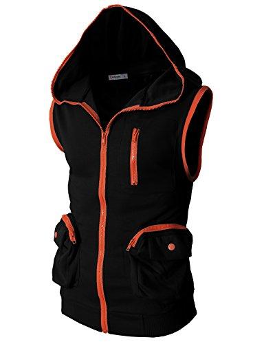 H2H Mens Fashion Sleeveless Hoodie Zip-up Vest BLACK US XL/Asia XXL (CMOHOSL01)