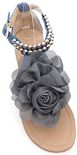 Laruise Women's Blossom Flat Sandal Blue exl4wgTgXy