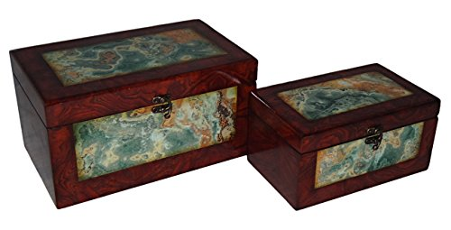 Rattan Treasure Chest (Cheung's FP-3852-2 Wooden Treasure Box with Marble Design| Set of 2)