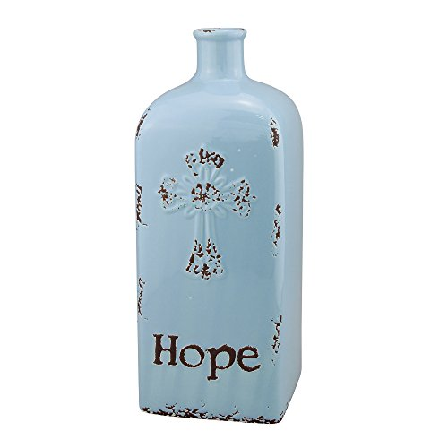 Stonebriar Decorative Pale Blue Ceramic Vase, For Floral Arrangements and Dried Flower Filler, Centerpiece for Coffee, Kitchen, and Dining Room Table