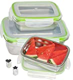 LILYS KITCHEN Leakproof Stainless Steel Food Containers with Airtight Lids, Set of 3, BPA FREE, Bonus Item - Mini Heart and Star Shaped - Fruit, Veggie, Cheese and Cookie Cutters