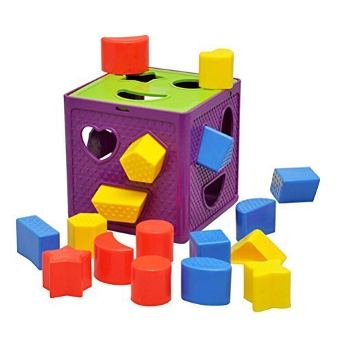 Emorefun Early Childhood Learning Baby Toys Activity Cube Plastic Geometric Square Shape Sorter Cube, Color Recognition Intelligence Toys Bricks Brocks