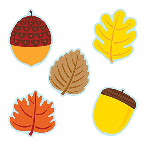 Carson Dellosa - Leaves & Acorns Colorful Cut-Outs, Fall Classroom Décor, 36 Pieces, Assorted Designs