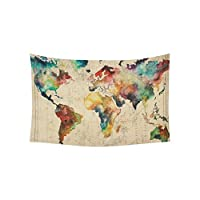 Artsadd Wall Art Home Decor Tapestry Retro Watercolor World Map Wall Tapestry Wall Hanging 60 x 40