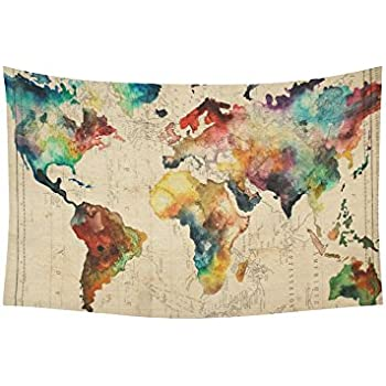 Amazon sunlightfree retro watercolor world map tapestry artsadd wall art home decor tapestry retro watercolor world map cotton linen wall tapestry wall hanging 60 x 40 gumiabroncs Gallery