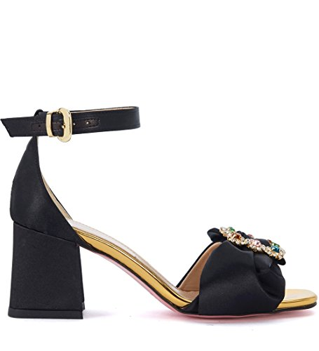 Women's Tacchi with Jewel Sandal e Tipe Buckle and Bow Black Black Satin 1SEY5wx