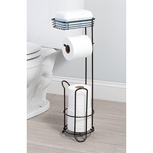 Mdesign Free Standing Toilet Paper Holder With Shelf For Bathroom Bronze Home Garden