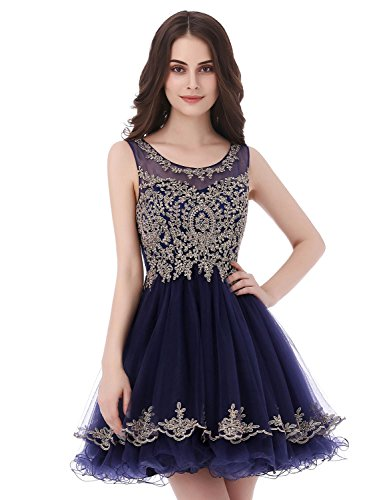 ... Navy Blue Tulle A Line Homecoming Dresses Short for Juniors 2018 Sheer  Neck Party Prom Dresses with Beads Sheer Neck Ball Gown.    76e33f39f