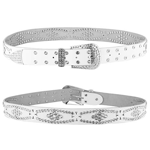 Women Fashion Studded Western Crystal Berry Rhinestone Bling Cowgirl Leather Belt (White)