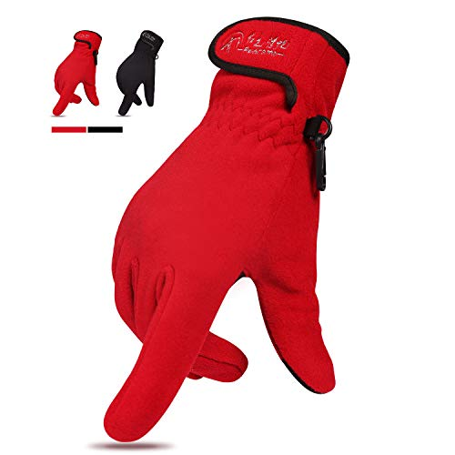(REDCAMP Windproof Winter Gloves for Men Women, Warm Thick Fleece Gloves with Touchscreen for Outdoor Running, Red M)