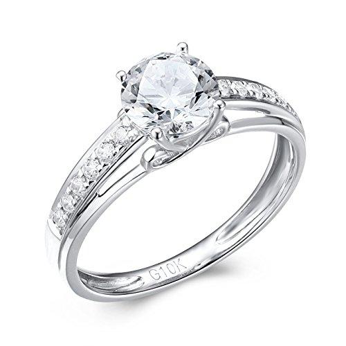 YOBO Jewelry 10k White Gold Women Wedding Engagement Ring Size (White Gold Kids Ring)
