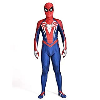 Unisex Spider-Man Ps4 Game 2018 Halloween Cosplay Costumes Adult 3D Style (XXL) Red