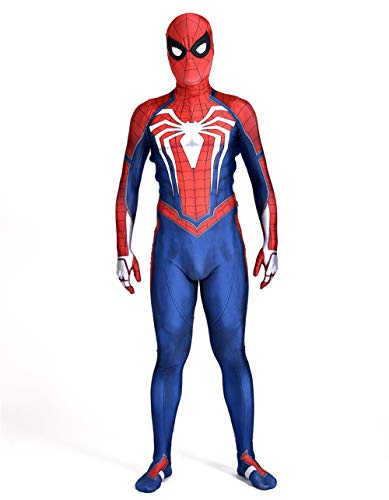 Unisex Spider-Man Ps4 Game 2018 Halloween Cosplay Costumes Adult 3D Style (S) Red