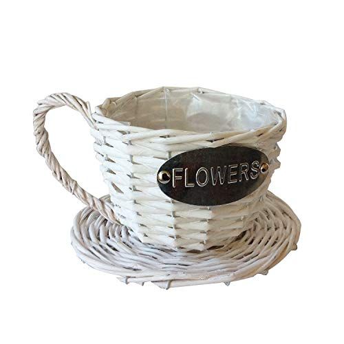 - Handmade Wicker Coffee Cup Shaped Basket or Planter (White)
