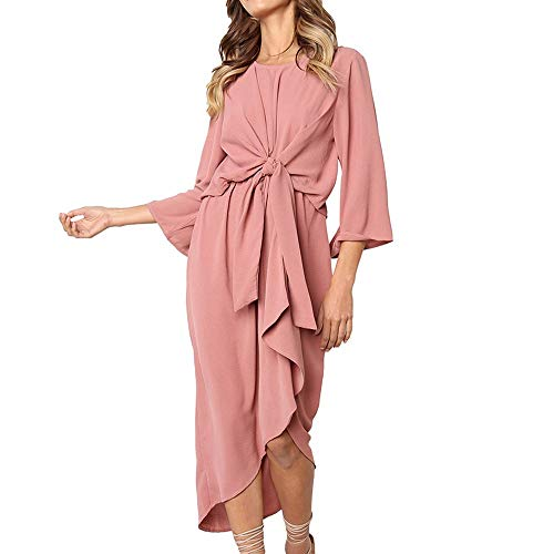 ANJUNIE Casual Bodycon Skirt,Womens Daily Solid Irregular Hem Bow tie Midi Dress(Pink,S) -