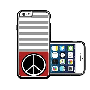 RCGrafix Brand Peace Red& Grey Stripes Black iPhone 6 Case - Fits NEW Apple iPhone 6