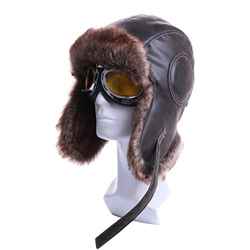 (Unisex Bomber Trooper Trapper Hat,Winter Outdoor Plush Earflap Goggles Aviator Faux Leather Fur Snow Caps)