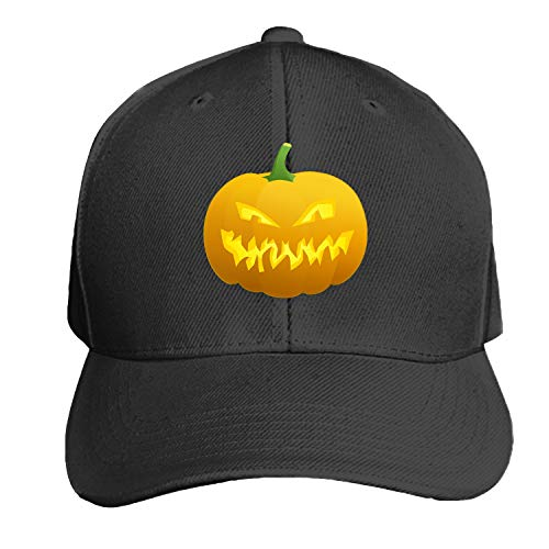 (Peaked hat Halloween Pumpkin Scary Printed Sandwich Baseball Cap for Unisex Adjustable)