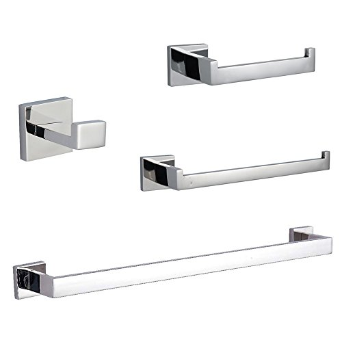 Polished Chrome Tissue Holder - KES SUS304 Stainless Steel Bathroom Accessories Set Single Towel Bar Robe Hook Toilet Paper Holder Towel Ring Wall Mount, Polished Finish, LA250-42