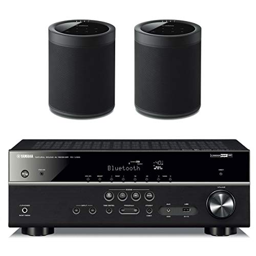 - Yamaha RX-V485BL 5.1 Channel AV Network Receiver with WX-021BL MusicCast 20 Wireless Speakers - Pair (Black)