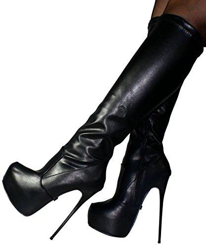 Erogance Plateau High Heels Kneestiefel - Botas para mujer 37 Negro - BLKPU