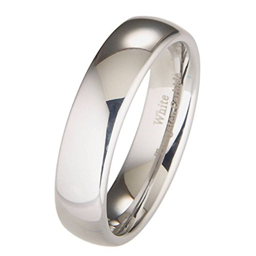 MJ 6mm White Tungsten Carbide Polished Classic Wedding Ring Size 8.5 Nickel Metal Rings