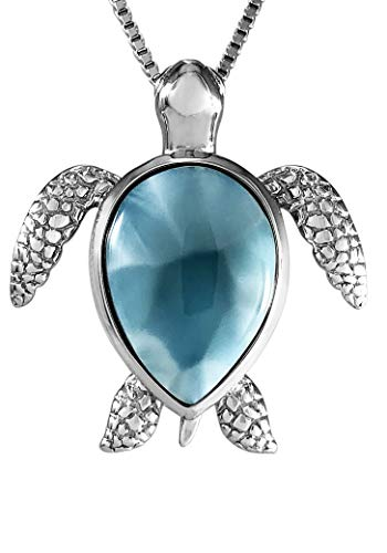 Aloha Jewelry Company Sterling Silver Natural Larimar Turtle Necklace Pendant with 18