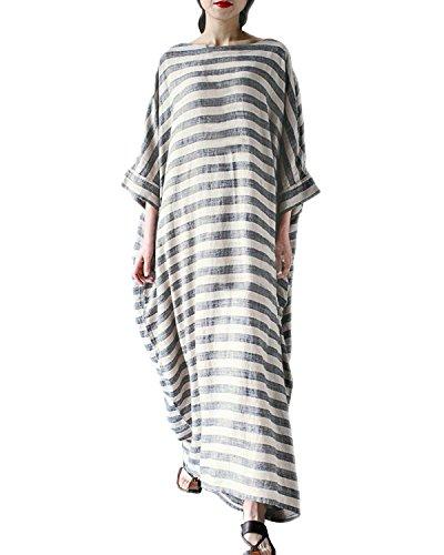 StyleDome Vestido Maxi Mangas 3/4 Elegante Casual Fiesta Algodón Rayas Cóctel Noche para Mujer Gris