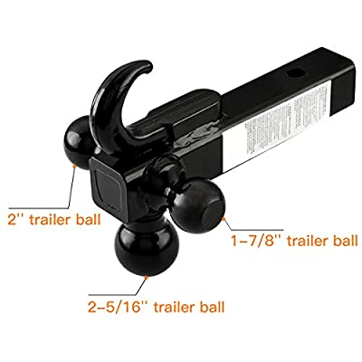 TOPSKY Trailer Hitch Tri Ball Mount with Hook, 1-7/8