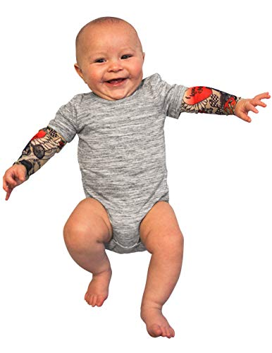 CloseoutZone Boys Tattoo Snapshirt Infant One Piece Tattoo Sleeves 0 to 8 Months Gray