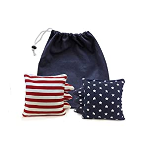 Weather Resistant Cornhole Bags Filled with Synthetic Corn PLUS a Drawstring Tote - Plays Like Real Corn! Regulation Size & Weight - 25+ Colors Options
