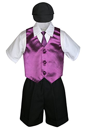 6pc Baby Little Boy Black Bow Tie Shorts Extra Vest Necktie Set S-4T (M:(6-12 months), Eggplant)