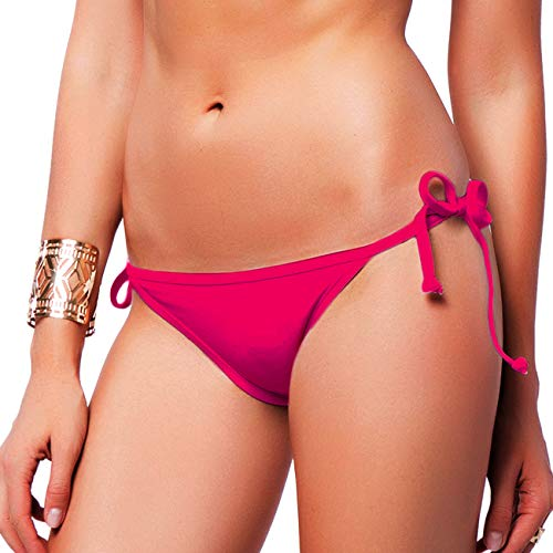 FITTOO Sexy V Cut Bikini Bottom Tie Sides for Women Cheeky Booty T-Back Ladies Swimsuit Pink ()