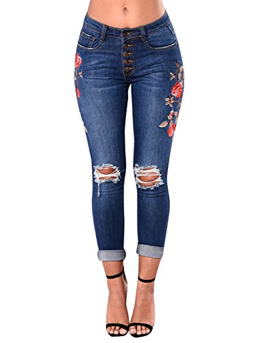 Embroidered Pocket (PERSUN Women's High Waist Rose Embroidered Ripped Denim Skinny Jeans With Pocket,XXL)
