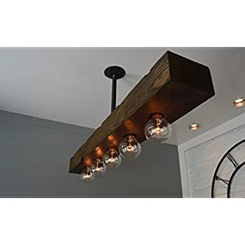West Ninth Vintage Fayette Recessed Wood Beam Chandelier | Indoor Downlight for Farmhouse Home Decor | Kitchen Island | Bar | Dining Room | Jacobean