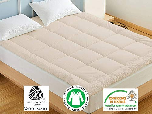 100% Natural Wool Mattress Topper. Woolmark & Oeko Certified. (Queen) ()