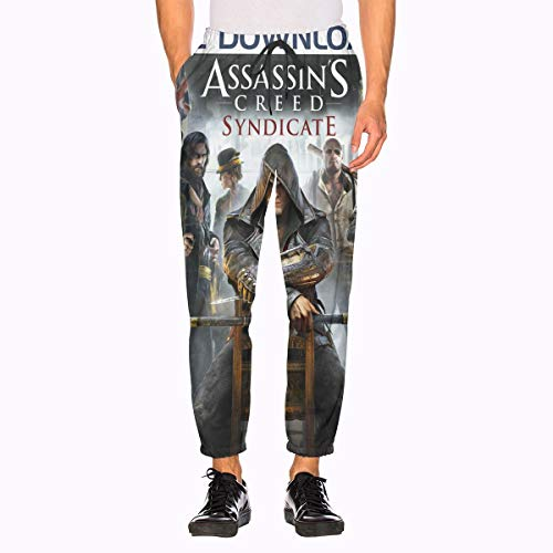 Assassins Creed Sweatpants 3D Printing with Pockets Sports Jogger Pants for Men's White (Pants Creed Sweat Assassins)