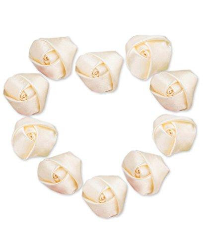 Ivory Satin Rose (Ajetex 50pcs Satin Ribbon Rose Flower 25mm Wedding Appliques Ivory)