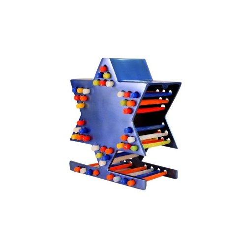 Yair Emanuel Aluminum Star of David Candle Storage Menorah in Blue