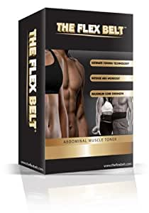 FLEX BELT Ab Belt Workout - Tone, Firm and Strengthen the Abdominal Muscles, Black